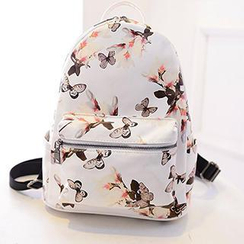 Youme - Faux-Leather Floral Print Backpack