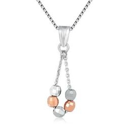 MaBelle - 14K/585 Rose and White Gold Five Bead Diamond Cut Drop Necklace