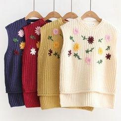 Suzette - 碎花刺繡針織馬甲