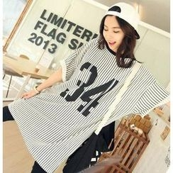 Love Seoul - Striped Number Print Long T-Shirt