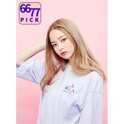 icecream12 - Elbow-Sleeve Embroidered T-Shirt