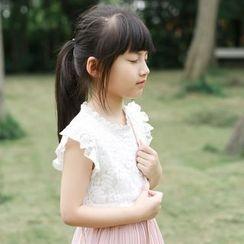 Wind Town - 童裝蓋袖蕾絲上衣