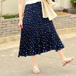 HOTPING - Band-Waist Pleated Pattern Midi Skirt