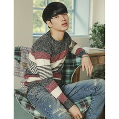 STYLEMAN - Color-Block Round-Neck Knit Top