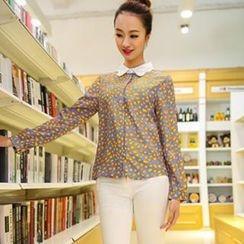Colorful Shop - Contrast-Collar Leopard-Print Chiffon Shirt