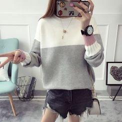 Qimi - Colour Block Mock-neck Knit Top