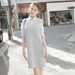 Cotton Candy - 罗纹无袖针织连衣裙