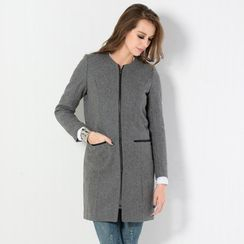59 Seconds - Collarless Zip Coat