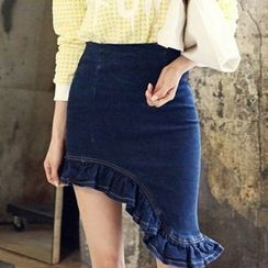 Isadora - Frilled Asymmetrical Hem Denim Skirt