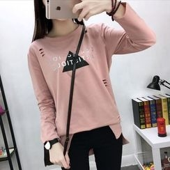 Fashion Street - Lettering Ripped Long-Sleeve Tunic