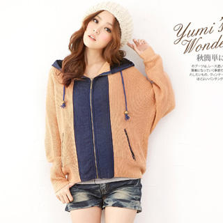YUMI - Denim-Panel Hooded Knit Cardigan