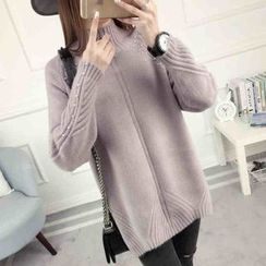 anzoveve - Embellished High Neck Sweater