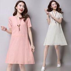 Salisha - Plain Short-Sleeve Shirtdress