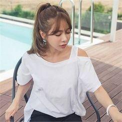 ERANZI - Cutout-Shoulder Cotton T-Shirt