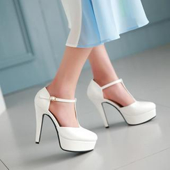 JY Shoes - T-Strap Platform Pumps
