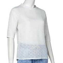 Jolly Club - Elbow-Sleeved Lace T-Shirt