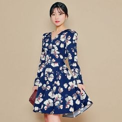 HOTPING - Wrap-Front Floral Print Dress