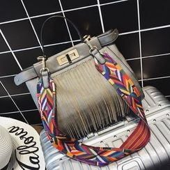 Nautilus Bags - Fringed Satchel with Patterned Strap