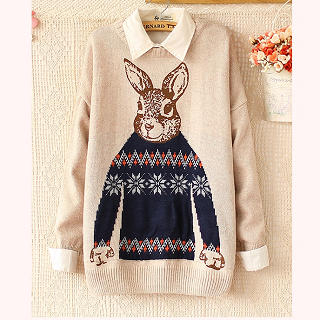 Ringnor - Rabbit-Print Drop-Shoulder Sweater