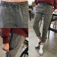 PINKSISLY - Drawstring-Waist Harem Pants