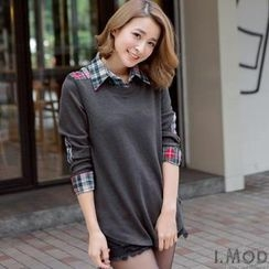 OrangeBear - Inset Plaid Shirt Elbow-Patch Top
