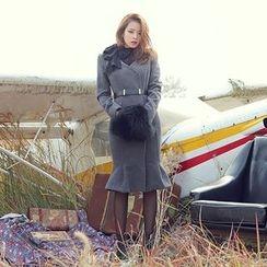 DABAGIRL - Ruffle-Hem Wool Blend Coatdress