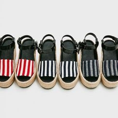chuu - Stripe Espadrille Wedge Sandals