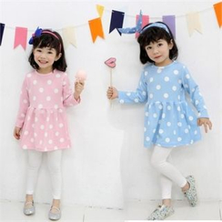 nanakids - Girls Set: Polka-Dot Dress + Leggings