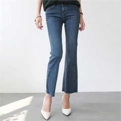 YOOM - Fray-Hem Boot-Cut Jeans