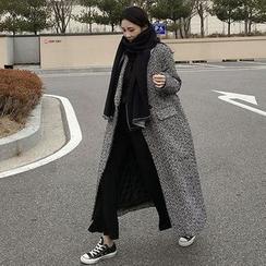 Seoul Fashion - One-Button Herringbone Long Coat