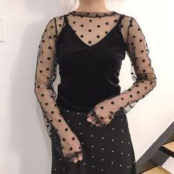 Whitney's Shop - Set: Sheer Long-Sleeve Top + Velvet Camisole Top
