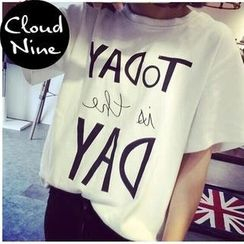 Cloud Nine - Lettering Short-Sleeve T-Shirt