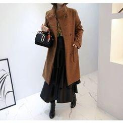 Miamasvin - Funnel-Neck Wool Blend Coat
