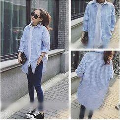 Whitney's Shop - 格子长款衬衫