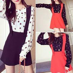 Shimi - Set: Star Print Blouse + Jumper Skirt