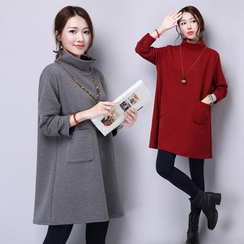 Yeeya - High-Neck Long-Sleeve Dress