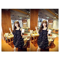 Dream Girl - Star Print Cold Shoulder Short-Sleeve Chiffon Dress