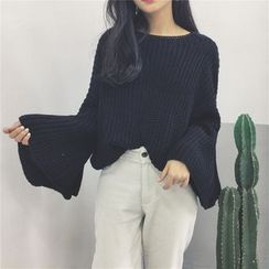Whitney's Shop - Bell-Sleeve Chunky Knit Sweater