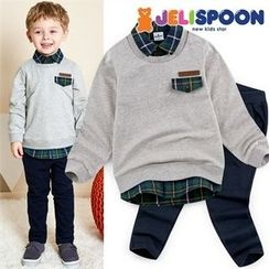 JELISPOON - Kids Set: Inset Pullover Shirt + Band-Waist Pants