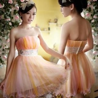 Fantasy Bride - Strapless Rhinestone Mini Prom Dress