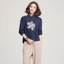 Jiuni - Floral Print Long Blouse
