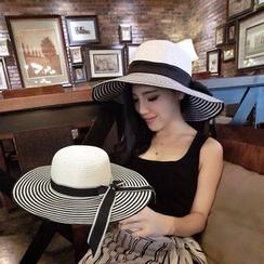 SHUMI - 條紋蝴蝶結稻草太陽帽