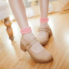 JY Shoes - Double Strap Platform Pumps