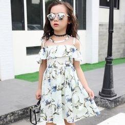PAM - Kids Off-Shoulder Printed A-Line Dress