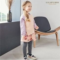 LILIPURRI - Girls Set: Color-Block Fleece Top + Inset Skirt Leggings