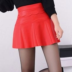Isadora - Faux Leather A-Line Skirt