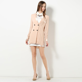 YesStyle Z - Satin Trim Double Breasted Chiffon Jacket