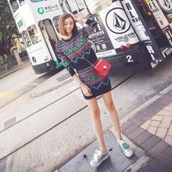 Tang House - Set: Patterned Sweater + Mini Skirt
