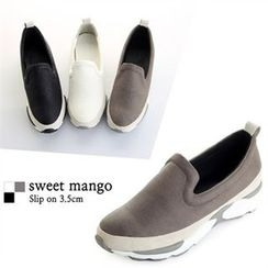 SWEET MANGO - Textured Faux-Leather Slip-Ons
