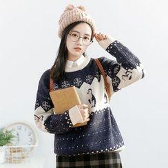 Forest Girl - Penguin Patterned Sweater